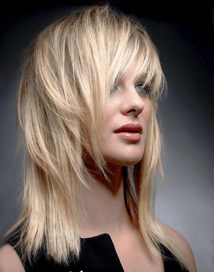 Стрижка гаврош на длинные светлые волосы