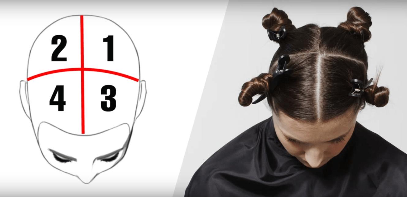 Разделение волос на зоны