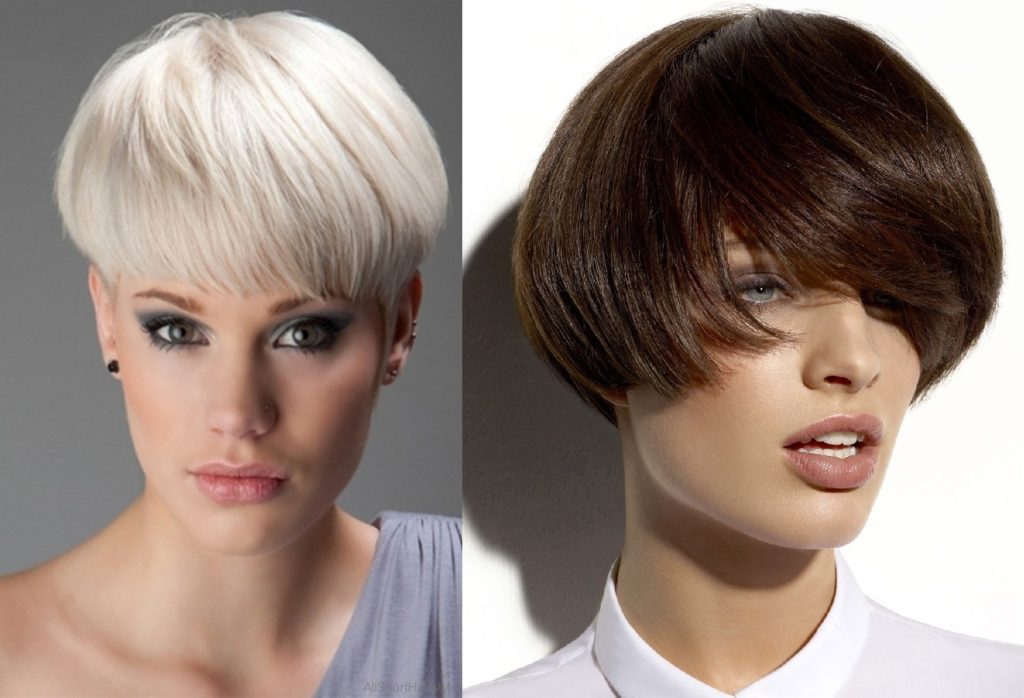 Два варианта стрижки паж на короткие волосы