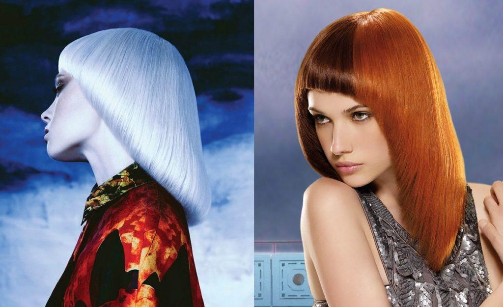По-разному окрашенные волосы в стрижке паж