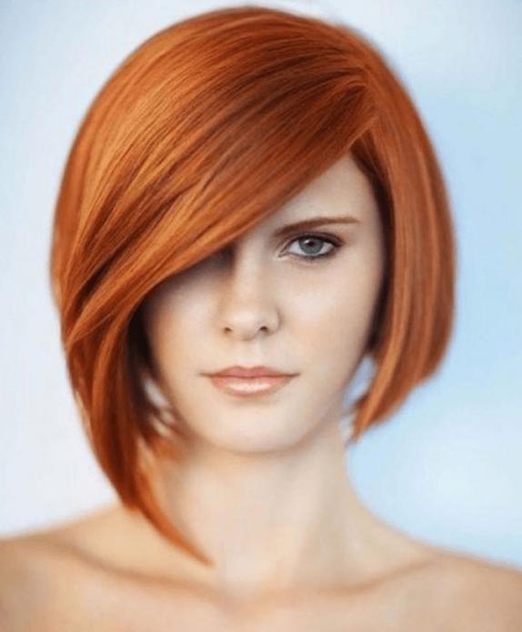 Ассиметричное каре на рыжие волосы