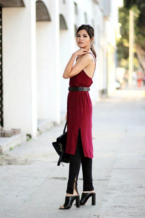 ВИнное платье в бельевом стиле под скинни и туфли