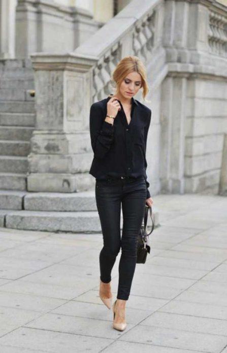 Бежевые туфли под черные брюки и рубашку