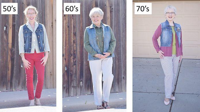брюки и джинсовая жилетка 50+