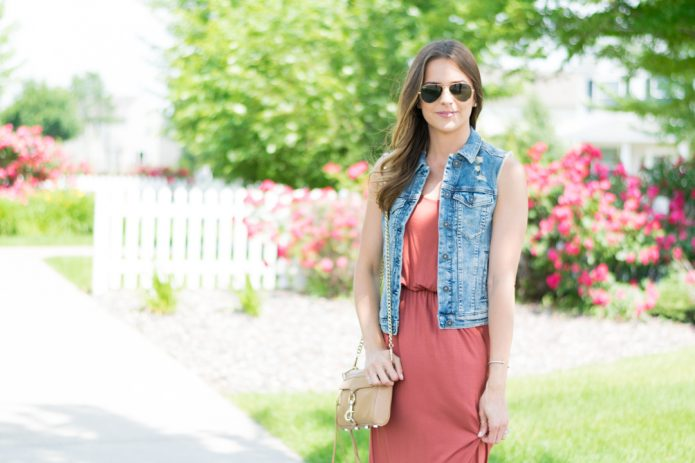 denim vest on dress