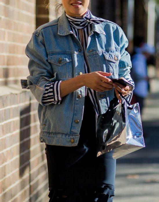 джинсовая куртка платок 8