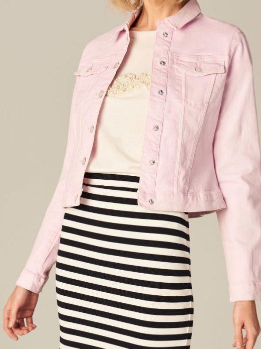 джинсовая куртка розовая и полоска