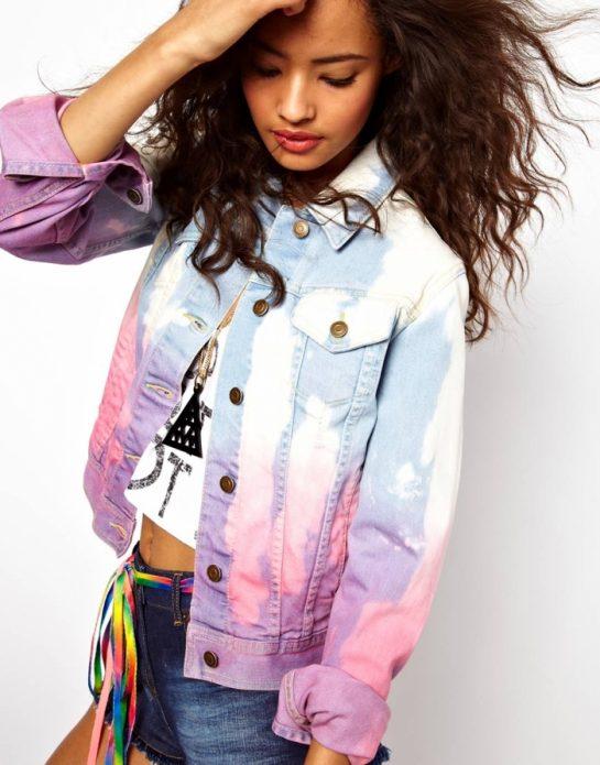 джинсовая куртка розовая с синим