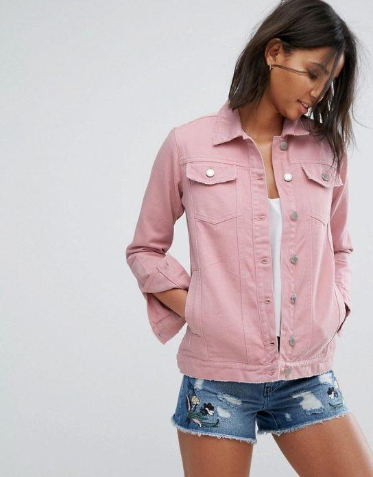 джинсовая куртка розовая пастельная