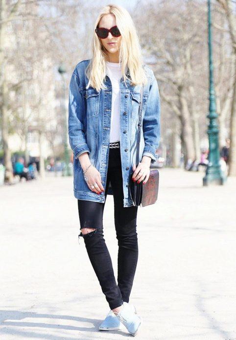 джинсовая куртка длинная и брюки