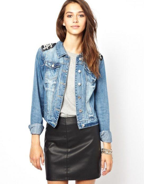 джинсовая куртка и кожа