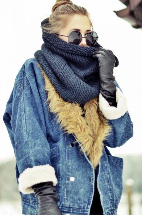 джинсовая куртка шарф
