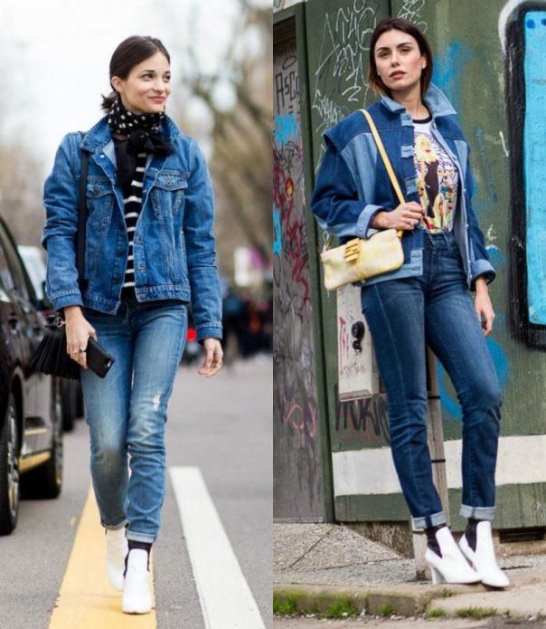 джинсовая куртка шарф и сапоги