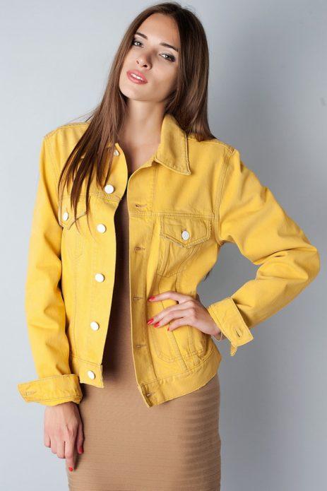 джинсовая куртка желтая