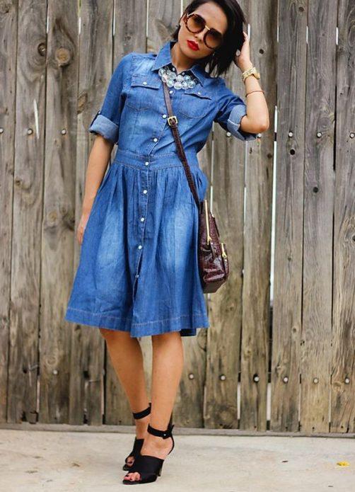 джинсовое платье с сумкой