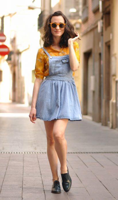 джинсовое платье и оксфорды