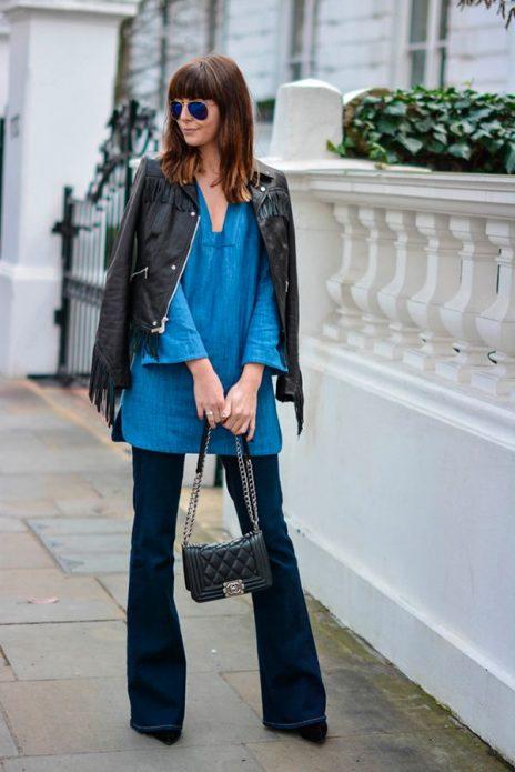 джинсовое платье с брюками и курткой