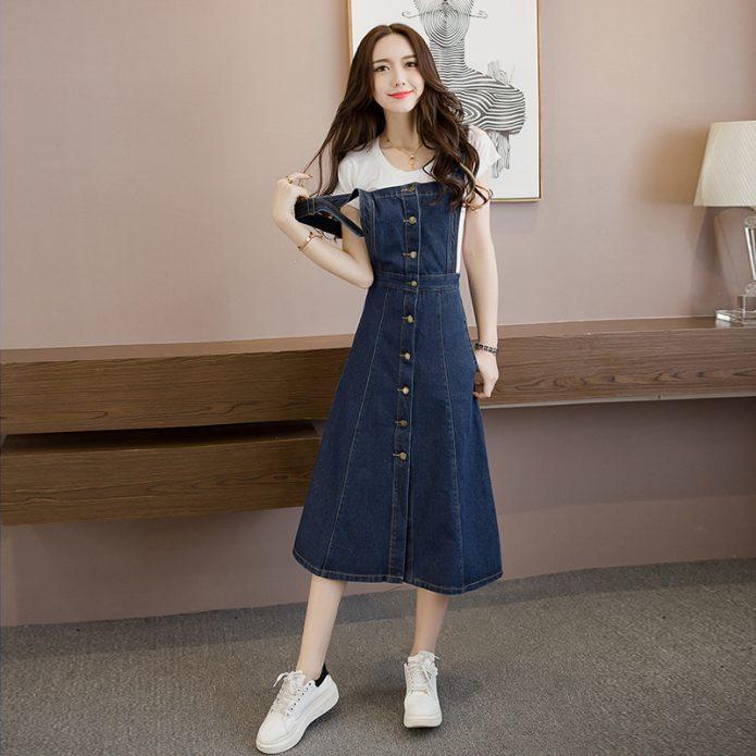 джинсовое платье миди молодежное
