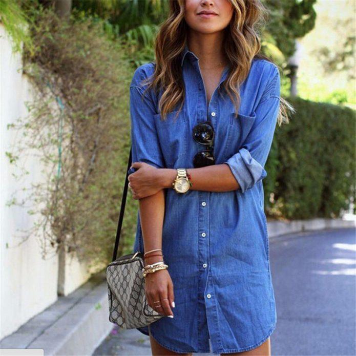 джинсовое платье мини рубашка