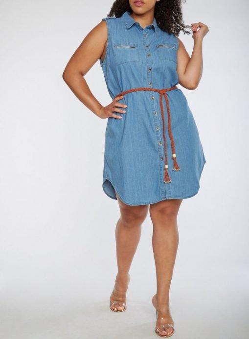 джинсовое платье носить полным