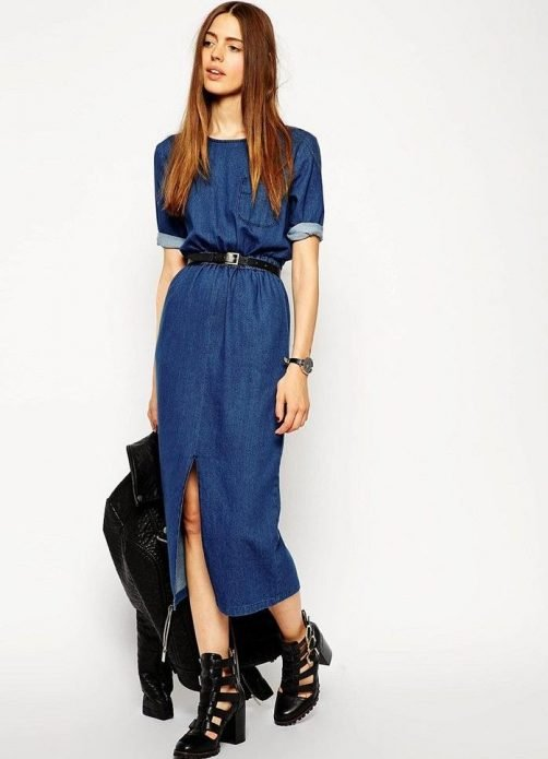 джинсовое платье современное