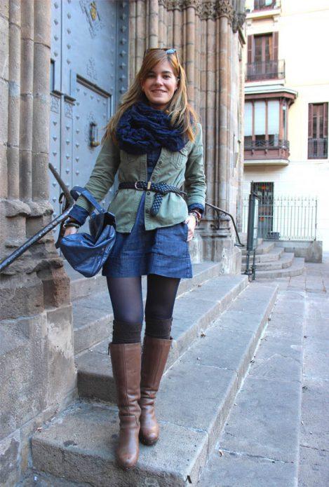 джинсовое платье с чем носить осенью