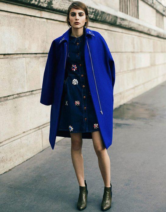 джинсовое платье с пальто