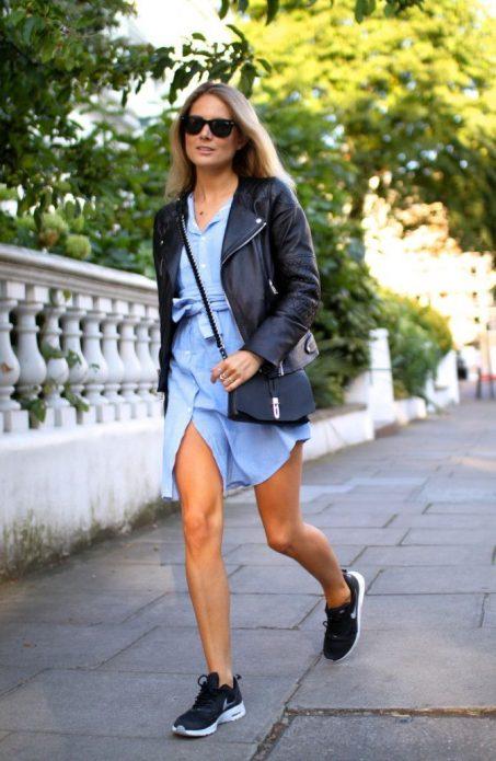 джинсовое платье с чем носить