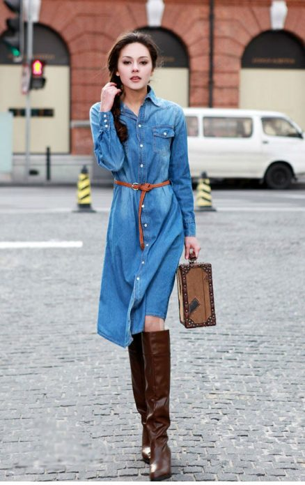 джинсовое платье с чем носить миди