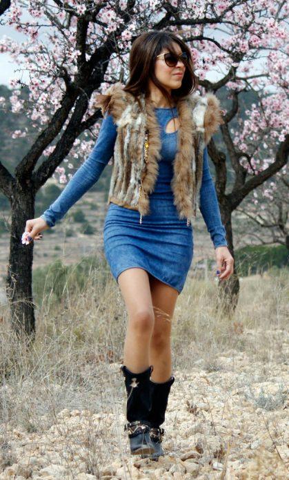 джинсовое платье сочетание с мехом