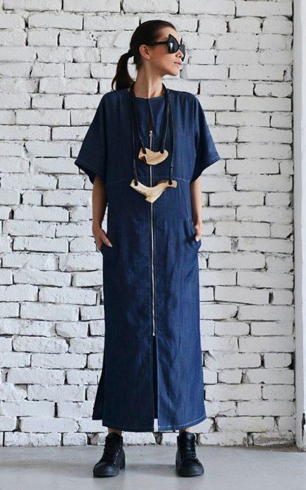 джинсовое платье свободное