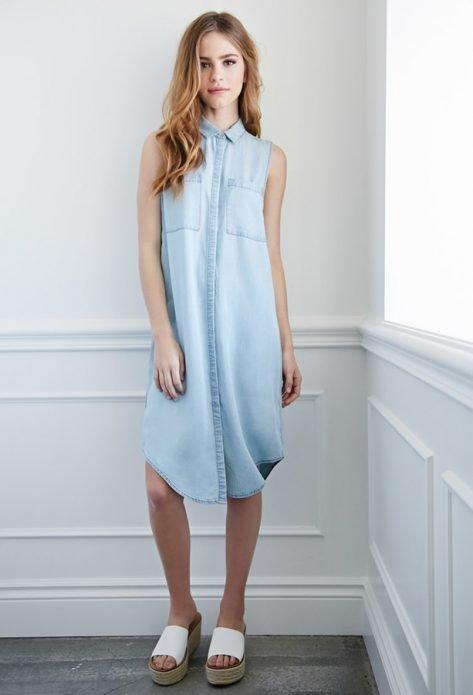 джинсовые платья миди светлые голубые