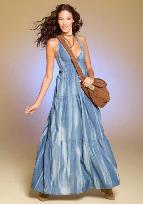 джинсовое платье в пол с сумкой