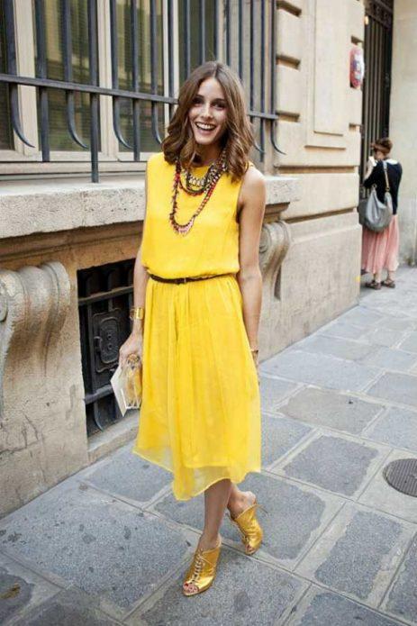босоножки с желтым платьем