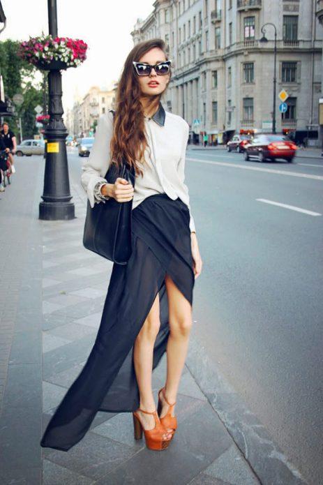 шифоновая юбка с босоножками
