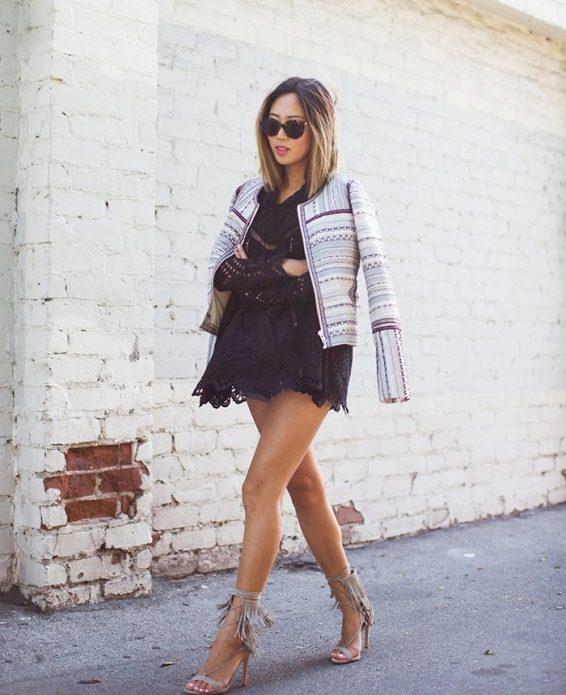 платье мини с босоножками