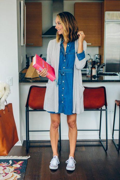 платье джинсовое и кардиган