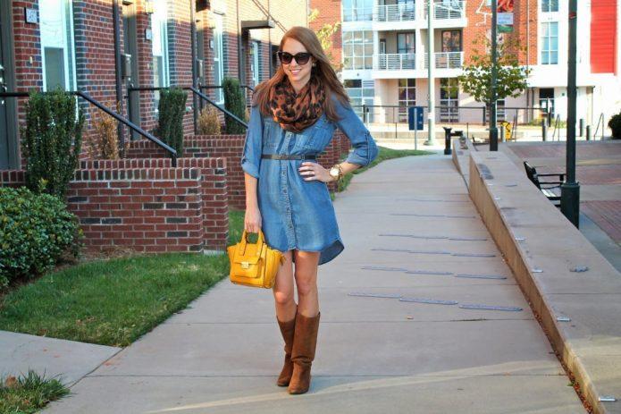 платье джинсовое мини сочетание
