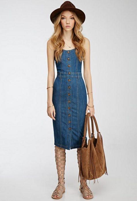 платье миди джинсовое по фигуре
