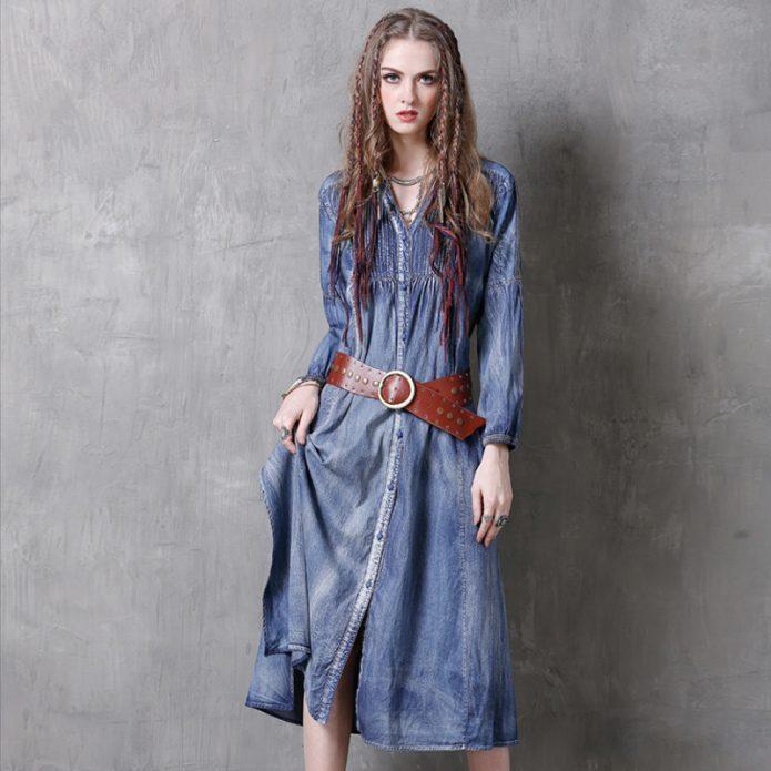 платье миди джинсовое бохо