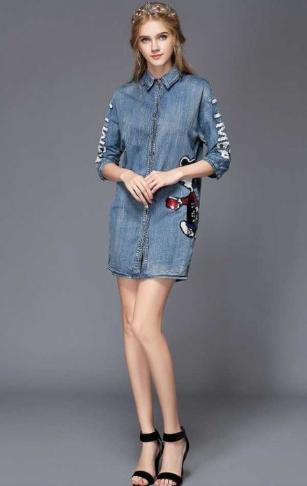 вечер джинсовое платье