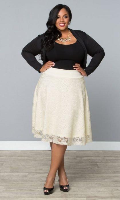 белая юбка на полных