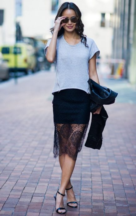 черная юбка прозрачная