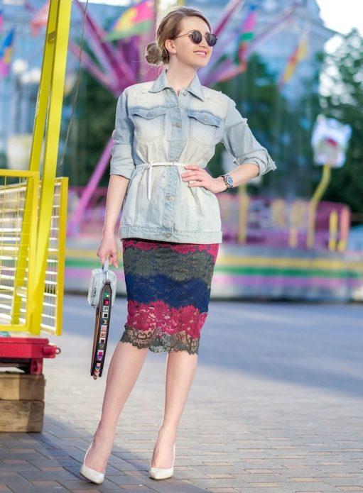 кружевная юбка разноцветная