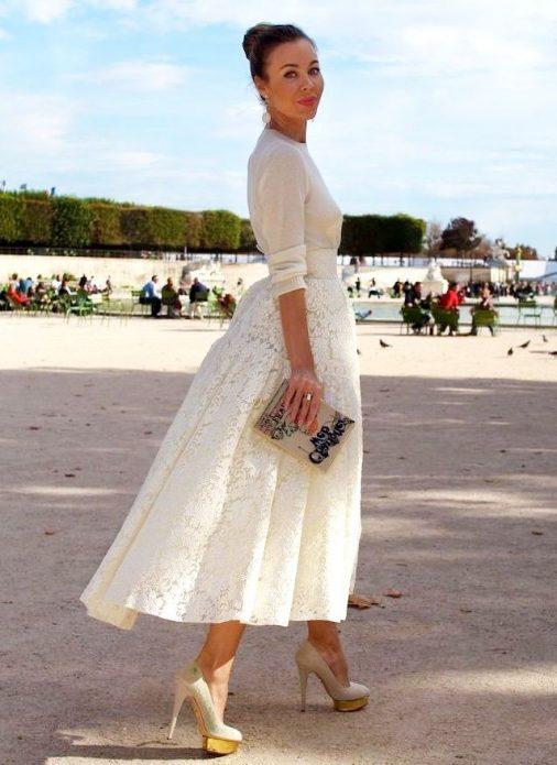 кружевная юбка Диор и джемпер