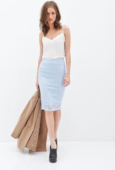кружевная юбка бельевой стиль