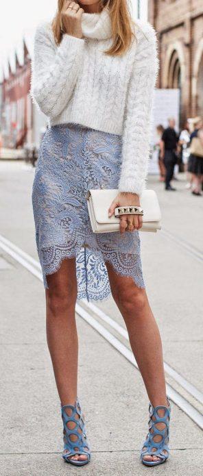 кружевная юбка и свитер