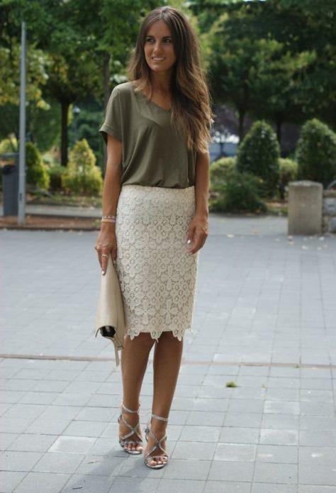 кружевная юбка с футболкой