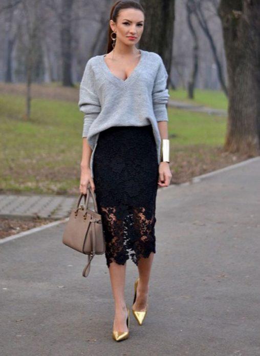 кружевная юбка и джемпер