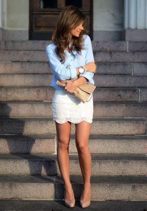 кружевная юбка мини с джинсой